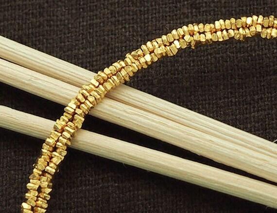 """220 of Karen hill tribe  Silver 24k Gold Vermeil Style Little Stick Beads 1.5x0.8 mm. 6.5 """"  :vm0005"""