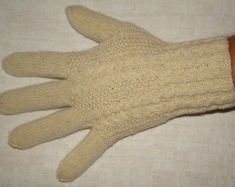 Men gloves- hand knitted, warm, naturally white color