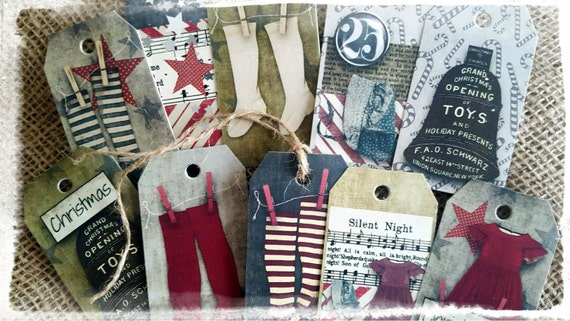 Set of 10 Vintage Primitive Style Christmas Gift Tags
