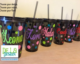 Quantity 9 Personalized w/name acrylic tumbler w/lid - polka dots, Available in skinny, standard, sport bottle, mason, kiddie cup & XL cup