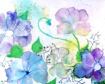Botanical Print Wall Art, Contemporary Art Print, Alcohol Ink Giclee Print, Pastel Art Work, Blue Garden Art,Floral Print,Watercolor Flowers