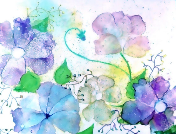 Botanical Print Wall Art, Contemporary Art Print, Alcohol Ink Giclee Print, Pastel Art Work, Blue Garden Art,Floral Print,Watercolor Flowers