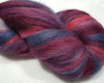 Hand Painted 100% Alpaca Roving - 4 ounces - Dyed in shades of Burgundy, Red, Silver and Gun Metal Grey