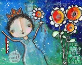 "Shiny Princess Mixed Media; 9"" x 12""; Original; Canvas Board"