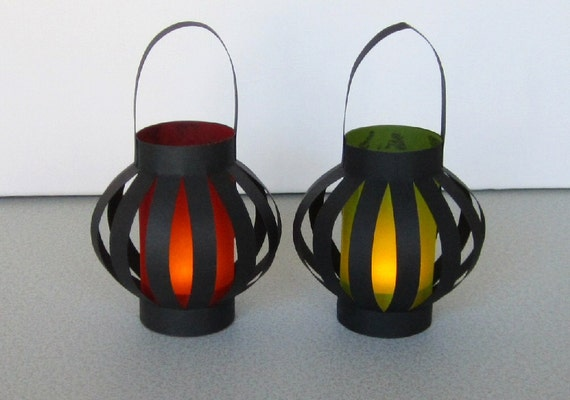 2 Kwanzaa Colors Bubble Lanterns with Battery LED Tea Light