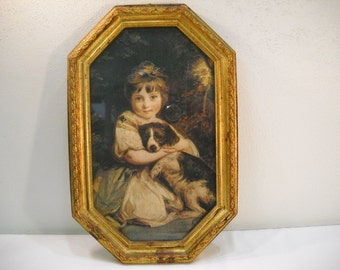 French Victorian Girl and Dog Framed Picture Made in Italy