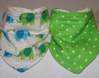 Elephant Baby Bandana Drool Bib Set of 2 with Flannel Elephant Print and Lime Green Flannel and Terry Cloth