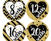 12 Pregnancy Belly Stickers Weekly Sticker Baby Bump Sticker Maternity Photo Prop Tummy Sticker Shower Gift Chevron Hearts Gold Black 162P