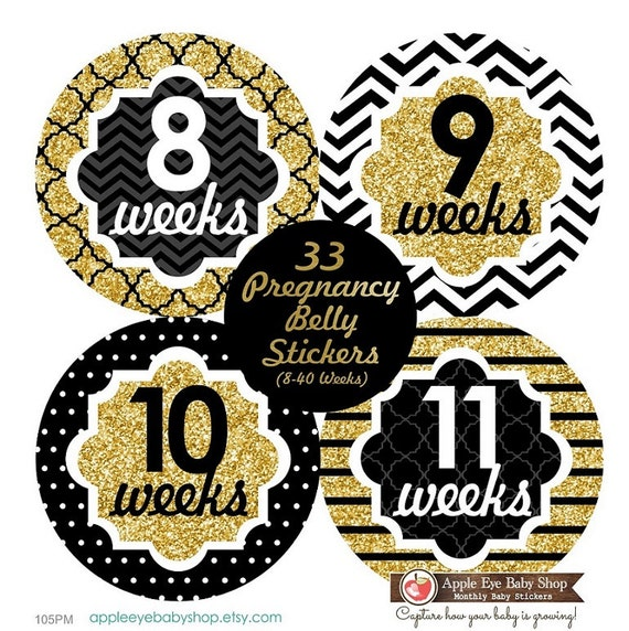 33 Pregnancy Belly Stickers Weekly Sticker Baby Bump ...