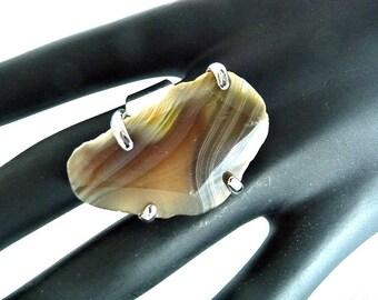 Boho Ring, Gemstone ring, Agate ring, brown agate ring, brown yellow, huge agate ring, big agate ring, big Geode ring, adjustable ring,