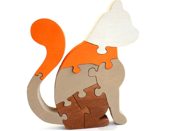 Cat Decor and Jigsaw Puzzle Painted Brown