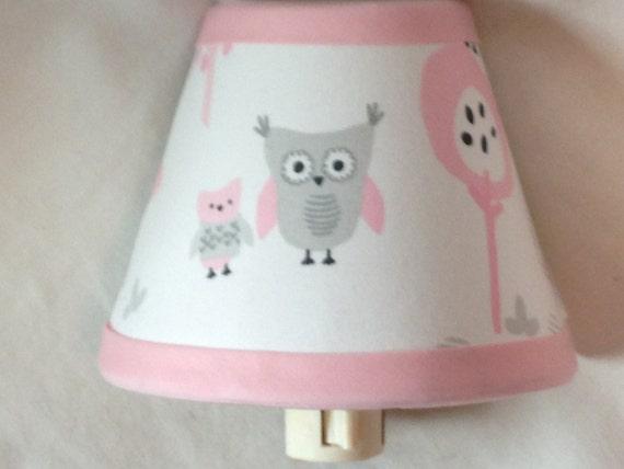 Pink And Gray Owl Fabric Nursery Night Light