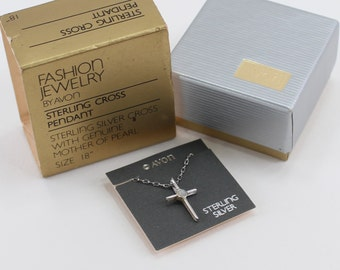 Vintage 1982 Signed Avon Sterling Silver Cross Pendant Mother of Pearl MOP Shell Semi Precious .925 Chain Necklace Original Box NIB