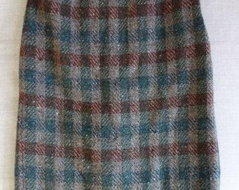 Paul Costelloe Chunky Irish Plaid Tweed 100% Wool Pencil Skirt xs