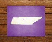Customized Tennessee 8 x 10 State Art Print, State Map, Heart, Silhouette, Aged-Look Print