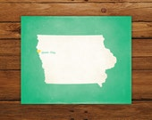 Customized Iowa 8 x 10 State Art Print, State Map, Heart, Silhouette, Aged-Look Print