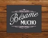 """Bésame Mucho 8x10"""" Print - Black & Pink"""