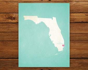 Customized Printable Florida State Map - DIGITAL FILE, Aged-Look Personalized Wall Art