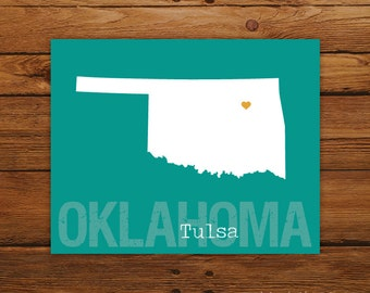 Custom Oklahoma, 8 x 10 Personalized State Print, State Love, State Map, Country, Heart, Silhouette, Wall Art Print