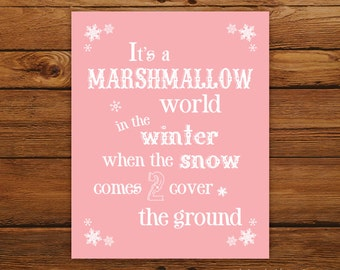 """Marshmallow World 8x10"""" Christmas Print - Christmas Song in Pink"""