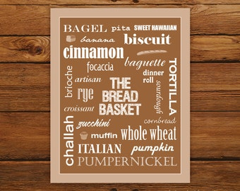 Kitchen Art The Bread Basket 8x10 Print - Brown Typography