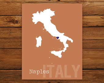 Custom Italy, Personalized Country Print, Country Love, Country Map, Country, Heart, Silhouette, 8 x 10 Wall Art Print