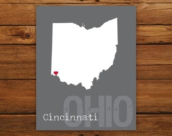 Custom Ohio, Personalized State Print, State Love, State Map, Country, Heart, Silhouette, 8 x 10 Wall Art Print