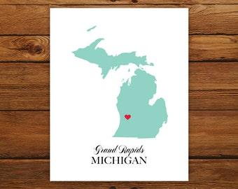 Michigan State Love Map Silhouette 8x10 Print - Customized
