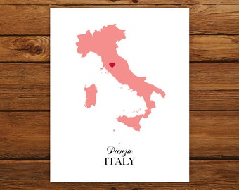 Italy Country Love Map Silhouette 8x10 Print - Customized