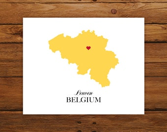 Belgium Country Love Map Silhouette 8x10 Print - Customized