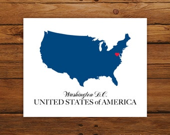 USA Country Love Map Silhouette 8x10 Print - Customized