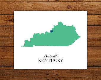 Kentucky State Love Map Silhouette 8x10 Print - Customized