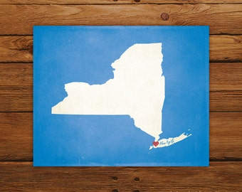 Customized New York 8 x 10 State Art Print, State Map, Heart, Silhouette, Aged-Look Print