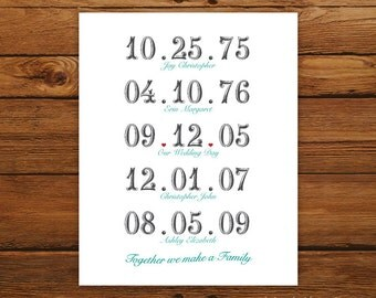 Important Dates 8x10 Print - Together We Make a Family in SCRIPT Style