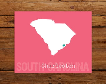 Custom South Carolina, Personalized State Art, State Print, State Love, State Map, Country, Heart, Silhouette, 8 x 10 Wall Art Print