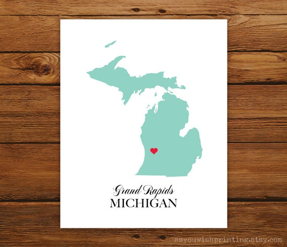 Michigan State Love Map Silhouette 8x10 Print - Customized