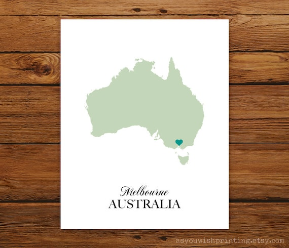 Australia Country Love Map Silhouette 8x10 Print - Customized