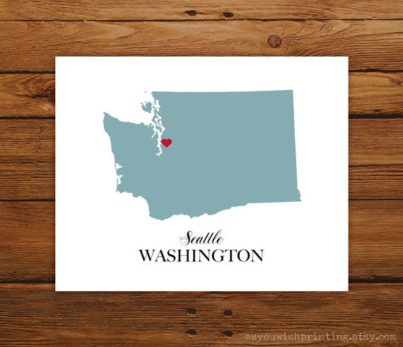 Washington State Love Map Silhouette 8x10 Print - Customized