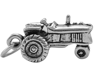 Sterling Silver Farm Tractor Charm Pendant 3D