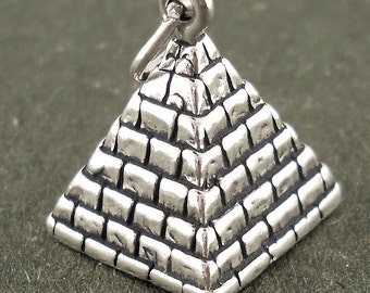 Sterling Silver Pyramid Charm 3D Pendant