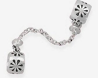SALE Double Flower with Chain Charm Bead Sterling Silver 925  Fits on most brands of European style bracelets