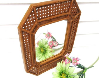 Vintage Plastic Frame Mirror, Wall Mirror, Burwood Mirror, Faux Wicker Bamboo Mirror, Syroco Wall Decor, Brown Wall Art