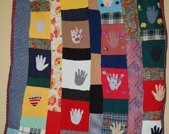 Rare Vintage African American Quilt HANDS pattern, SPECTACULAR!