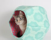Cat cave bed in cotton fabric with teal flowers and pink lining -  the Cat Ball kitty bed