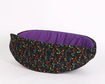 The Cat Canoe Made in Black and Rainbow Colors Music Note Fabric