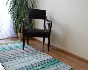 Floor Runner Handwoven Rag Rug Multicolor Recycled Fabric Handmade Rag Rug