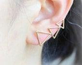 Triangles Ear Climber / triangles pierced ear cuff, gold, silver