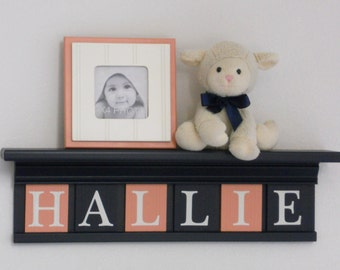NAVY CORAL Nursery | Coral Baby Sign | Navy Nursery Shelf | Coral and Navy Blue Name