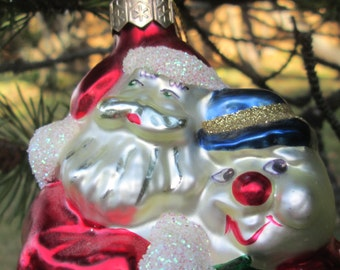 Glass Christmas Ornament Santa and Frosty.  Home for the Holidays. Made in Poland.  X-7