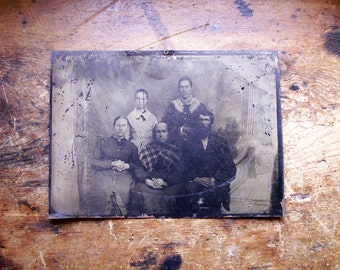Antique Large Full Plate Tintype Photograph - Four Women and a Man - Instant Relatives